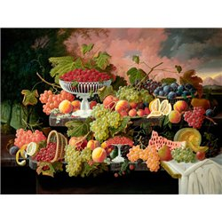 Two-Tiered Still Life with Fruit and Sunset Landscape