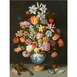 A still life of flowers in a Wan-Li Vase