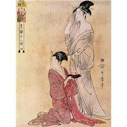 Femme a sa toilette aidee de sa servante
