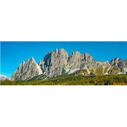Pomagagnon and larches in autumn, Cortina d'Ampezzo, Dolomites, Italy